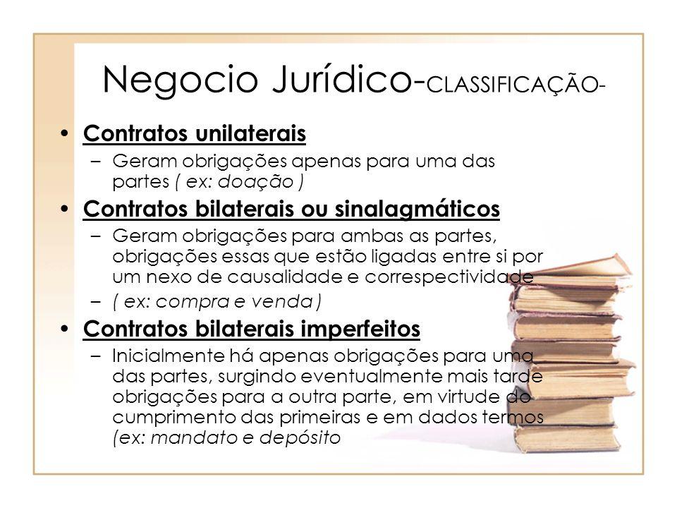 Negocio Jurídico- CLASSIFICAÇÃO- Contratos unilaterais –Geram obrigações apenas para uma das partes ( ex: doação ) Contratos bilaterais ou sinalagmáti