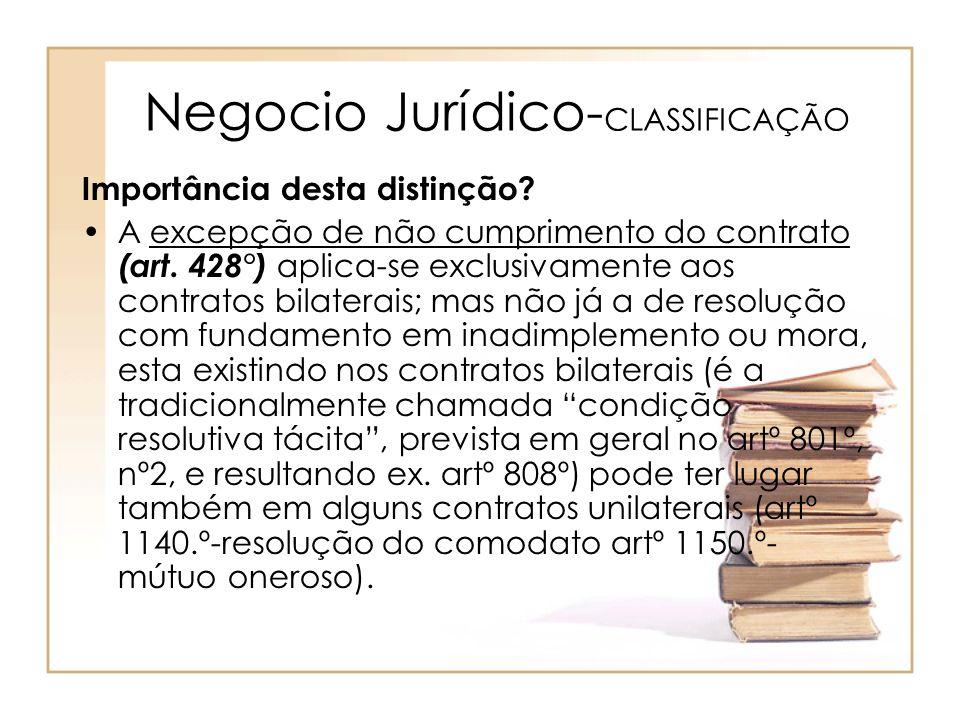 Negocio Jurídico- CLASSIFICAÇÃO Importância desta distinção? A excepção de não cumprimento do contrato (art. 428°) aplica-se exclusivamente aos contra