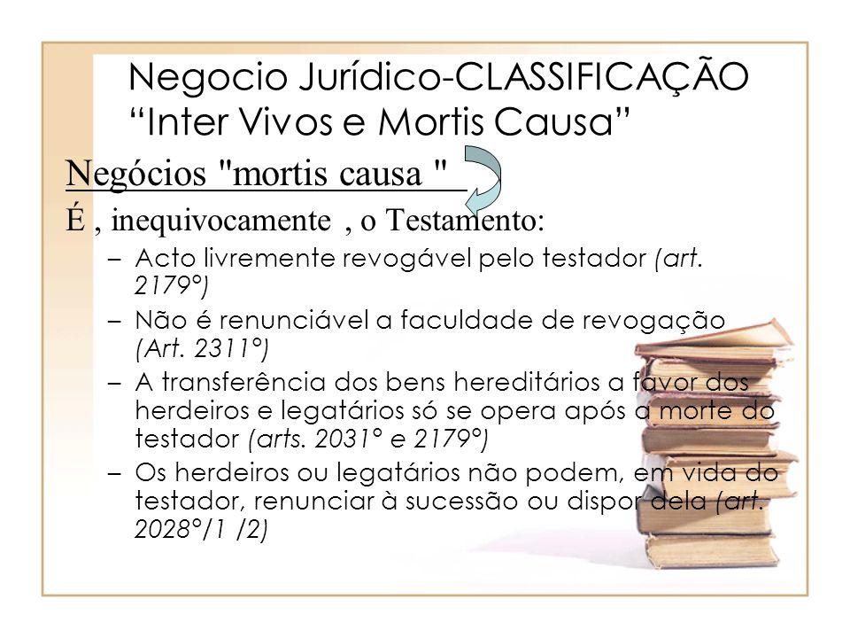 Negocio Jurídico-CLASSIFICAÇÃO Inter Vivos e Mortis Causa Negócios
