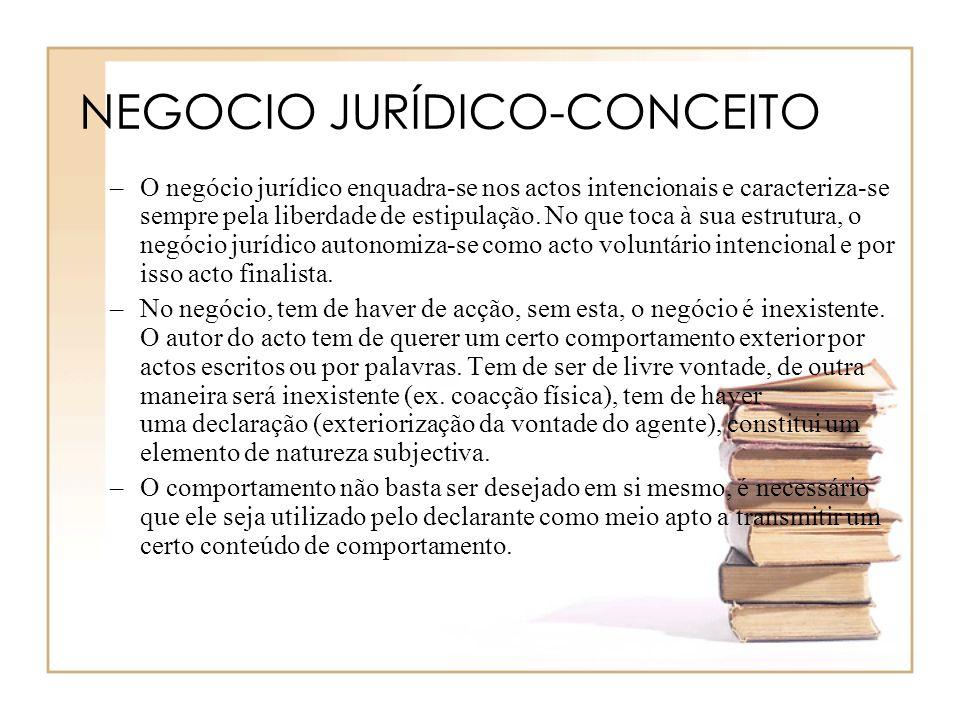 NEGOCIO JURÍDICO-CONCEITO –O negócio jurídico enquadra-se nos actos intencionais e caracteriza-se sempre pela liberdade de estipulação. No que toca à