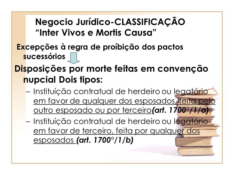 Negocio Jurídico-CLASSIFICAÇÃO Inter Vivos e Mortis Causa Excepções à regra de proíbição dos pactos sucessórios Disposições por morte feitas em conven