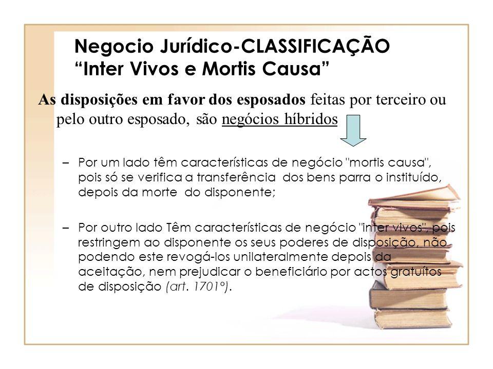 Negocio Jurídico-CLASSIFICAÇÃO Inter Vivos e Mortis Causa As disposições em favor dos esposados feitas por terceiro ou pelo outro esposado, são negóci