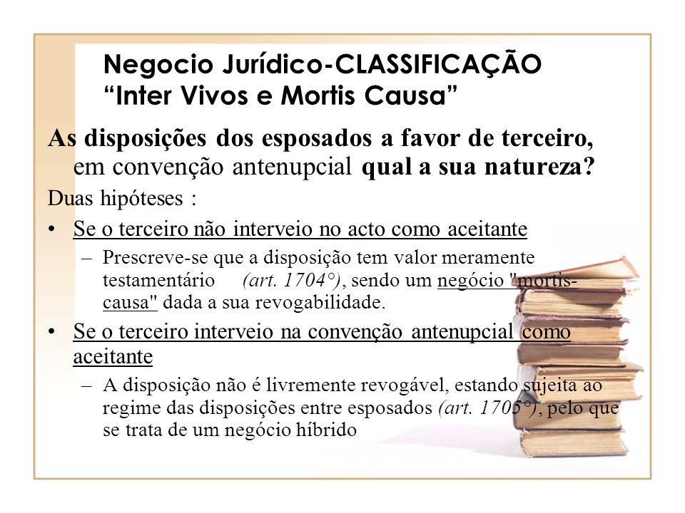 Negocio Jurídico-CLASSIFICAÇÃO Inter Vivos e Mortis Causa As disposições dos esposados a favor de terceiro, em convenção antenupcial qual a sua nature