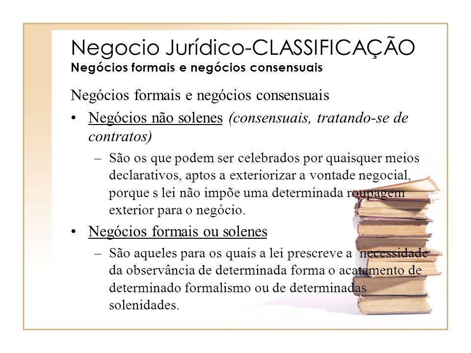 Negocio Jurídico-CLASSIFICAÇÃO Negócios formais e negócios consensuais Negócios formais e negócios consensuais Negócios não solenes (consensuais, trat