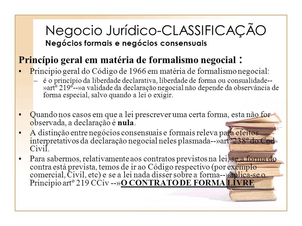 Negocio Jurídico-CLASSIFICAÇÃO Negócios formais e negócios consensuais Princípio geral em matéria de formalismo negocial : Principio geral do Código d