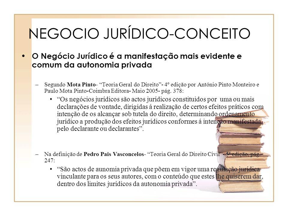 NEGOCIO JURÍDICO-CONCEITO O Negócio Jurídico é a manifestação mais evidente e comum da autonomia privada –Segundo Mota Pinto- Teoria Geral do Direito-