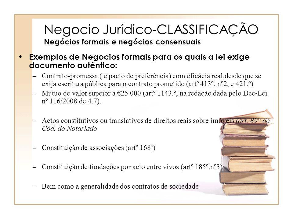Negocio Jurídico-CLASSIFICAÇÃO Negócios formais e negócios consensuais Exemplos de Negocios formais para os quais a lei exige documento autêntico: –Co