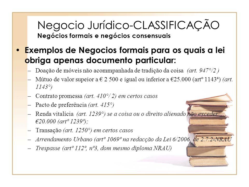 Negocio Jurídico-CLASSIFICAÇÃO Negócios formais e negócios consensuais Exemplos de Negocios formais para os quais a lei obriga apenas documento partic