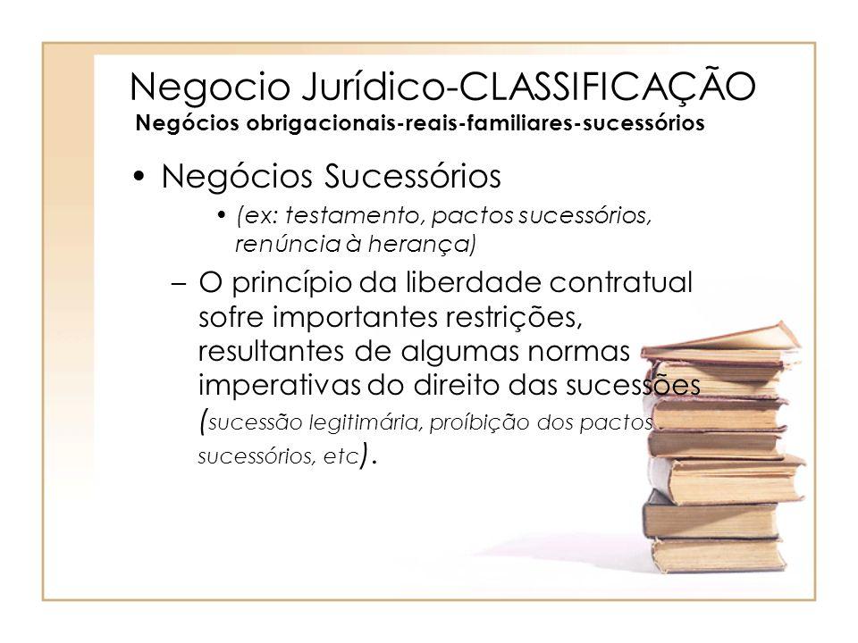 Negocio Jurídico-CLASSIFICAÇÃO Negócios obrigacionais-reais-familiares-sucessórios Negócios Sucessórios (ex: testamento, pactos sucessórios, renúncia