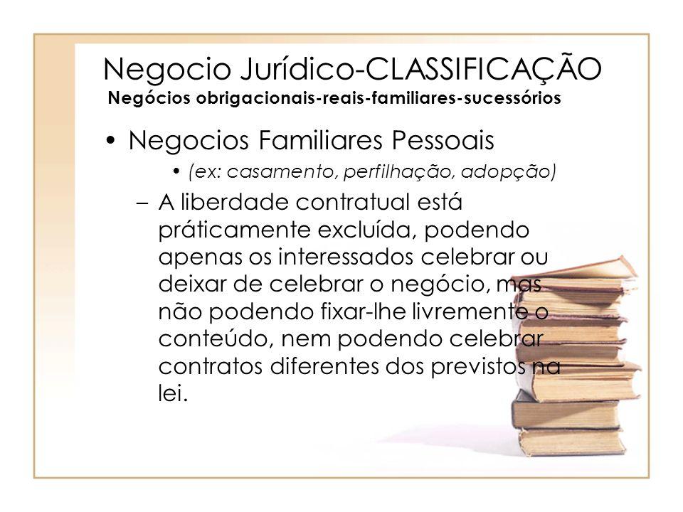 Negocio Jurídico-CLASSIFICAÇÃO Negócios obrigacionais-reais-familiares-sucessórios Negocios Familiares Pessoais (ex: casamento, perfilhação, adopção)