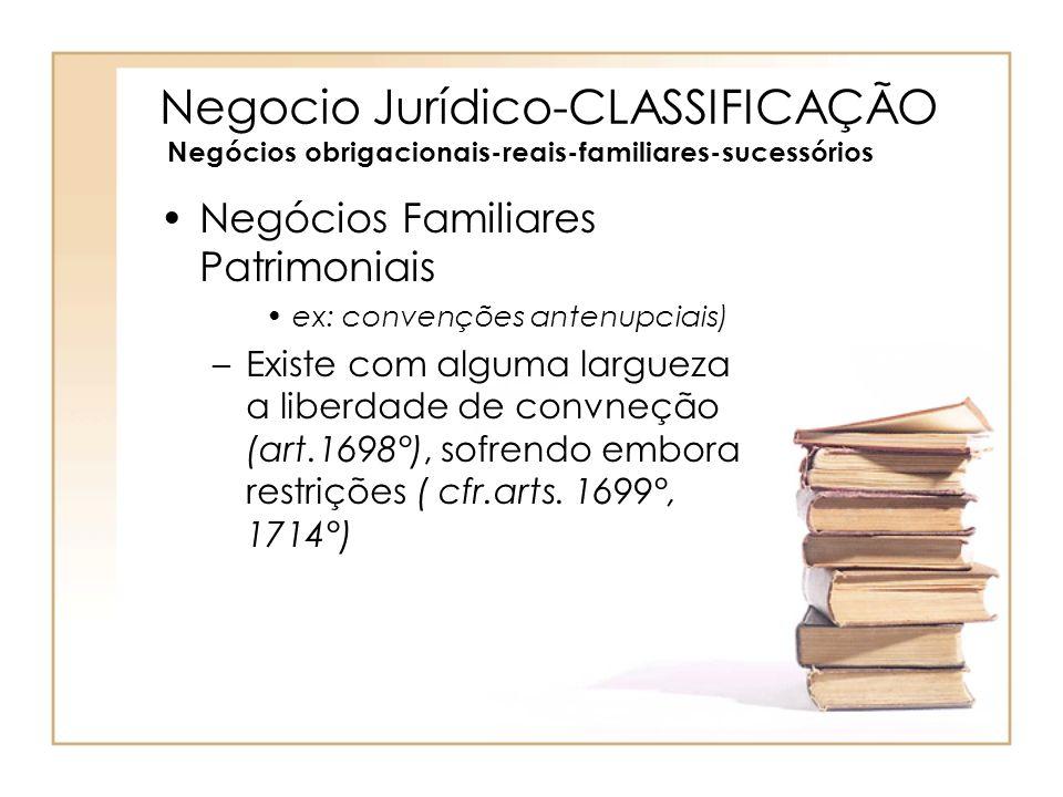 Negocio Jurídico-CLASSIFICAÇÃO Negócios obrigacionais-reais-familiares-sucessórios Negócios Familiares Patrimoniais ex: convenções antenupciais) –Exis