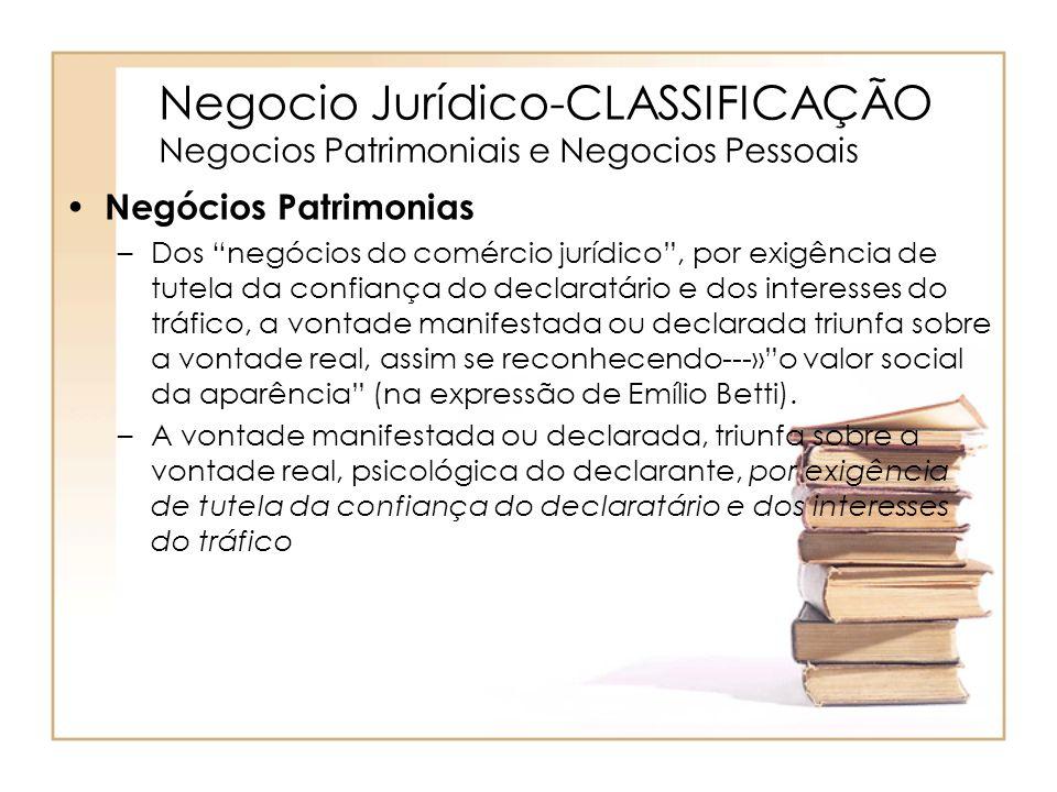 Negocio Jurídico-CLASSIFICAÇÃO Negocios Patrimoniais e Negocios Pessoais Negócios Patrimonias –Dos negócios do comércio jurídico, por exigência de tut