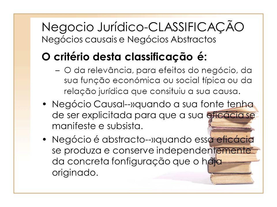 Negocio Jurídico-CLASSIFICAÇÃO Negócios causais e Negócios Abstractos O critério desta classificação é: –O da relevância, para efeitos do negócio, da