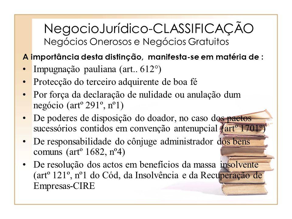 NegocioJurídico-CLASSIFICAÇÃO Negócios Onerosos e Negócios Gratuitos A importância desta distinção, manifesta-se em matéria de : Impugnação pauliana (