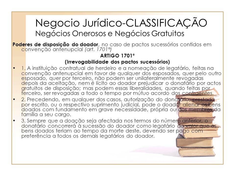 Negocio Jurídico-CLASSIFICAÇÃO Negócios Onerosos e Negócios Gratuitos Poderes de disposição do doador, no caso de pactos sucessórios contidos em conve