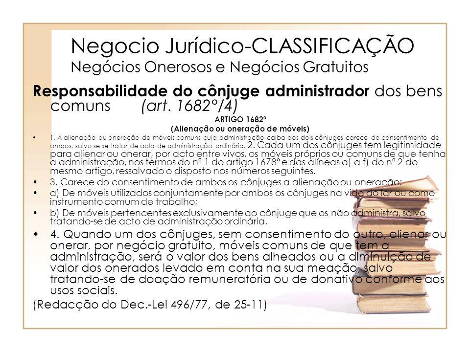 Negocio Jurídico-CLASSIFICAÇÃO Negócios Onerosos e Negócios Gratuitos Responsabilidade do cônjuge administrador dos bens comuns (art. 1682°/4) ARTIGO