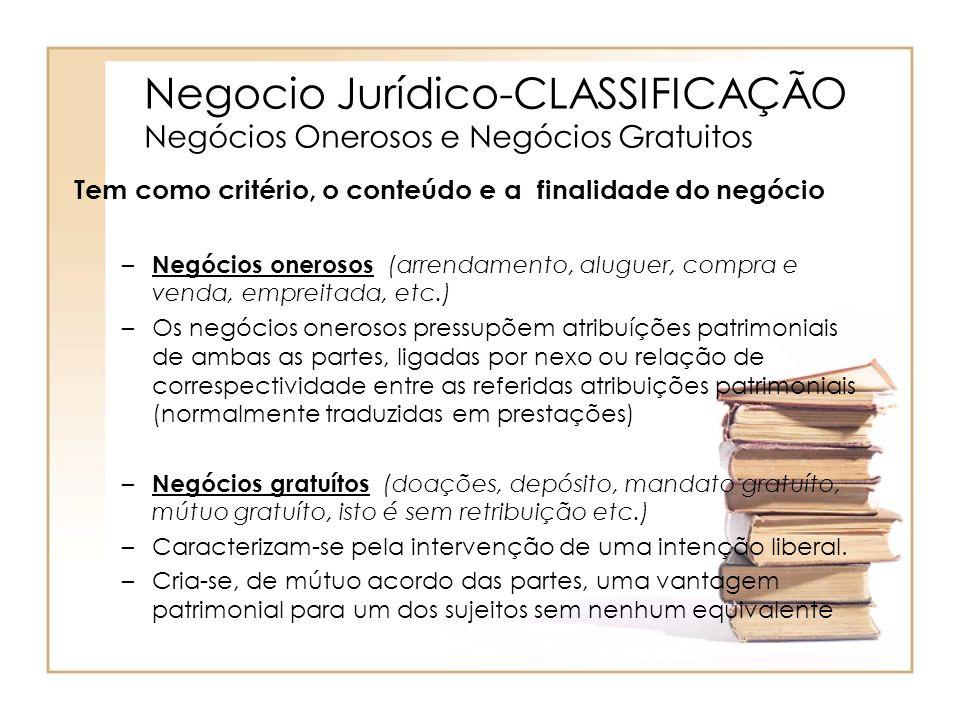 Negocio Jurídico-CLASSIFICAÇÃO Negócios Onerosos e Negócios Gratuitos Tem como critério, o conteúdo e a finalidade do negócio – Negócios onerosos (arr