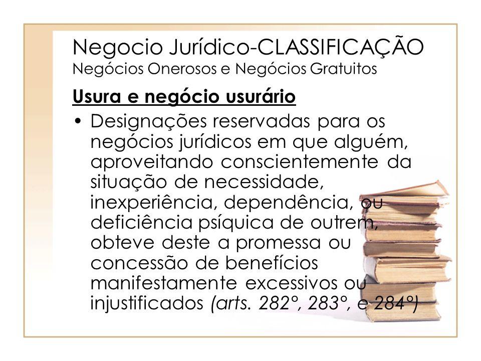 Negocio Jurídico-CLASSIFICAÇÃO Negócios Onerosos e Negócios Gratuitos Usura e negócio usurário Designações reservadas para os negócios jurídicos em qu