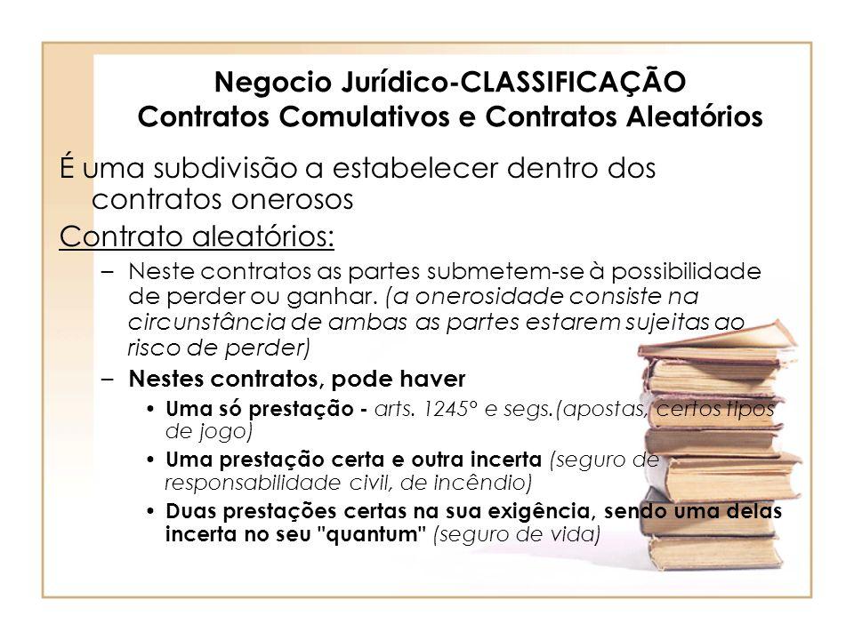Negocio Jurídico-CLASSIFICAÇÃO Contratos Comulativos e Contratos Aleatórios É uma subdivisão a estabelecer dentro dos contratos onerosos Contrato alea