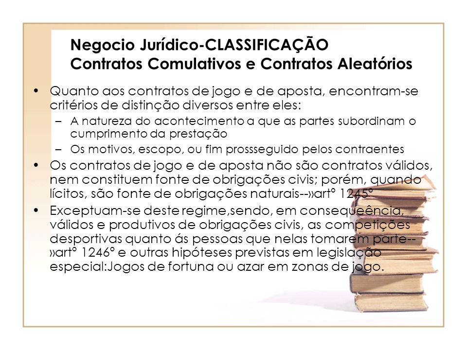 Negocio Jurídico-CLASSIFICAÇÃO Contratos Comulativos e Contratos Aleatórios Quanto aos contratos de jogo e de aposta, encontram-se critérios de distin