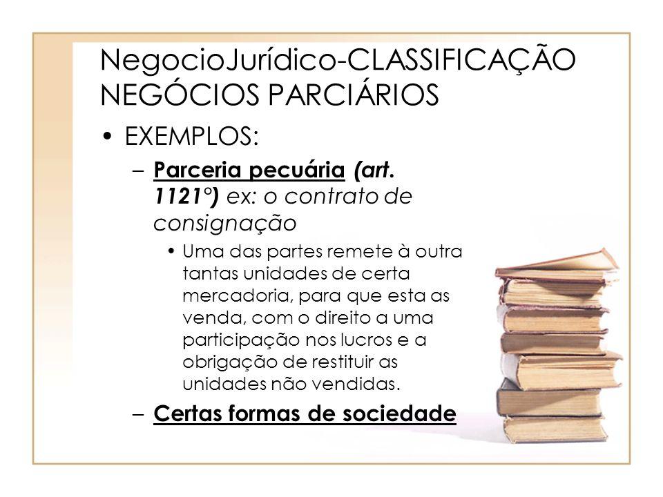NegocioJurídico-CLASSIFICAÇÃO NEGÓCIOS PARCIÁRIOS EXEMPLOS: – Parceria pecuária (art. 1121°) ex: o contrato de consignação Uma das partes remete à out