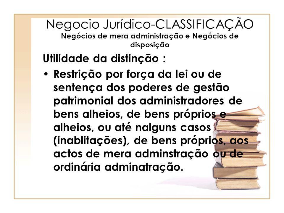 Negocio Jurídico-CLASSIFICAÇÃO Negócios de mera administração e Negócios de disposição Utilidade da distinção : Restrição por força da lei ou de sente