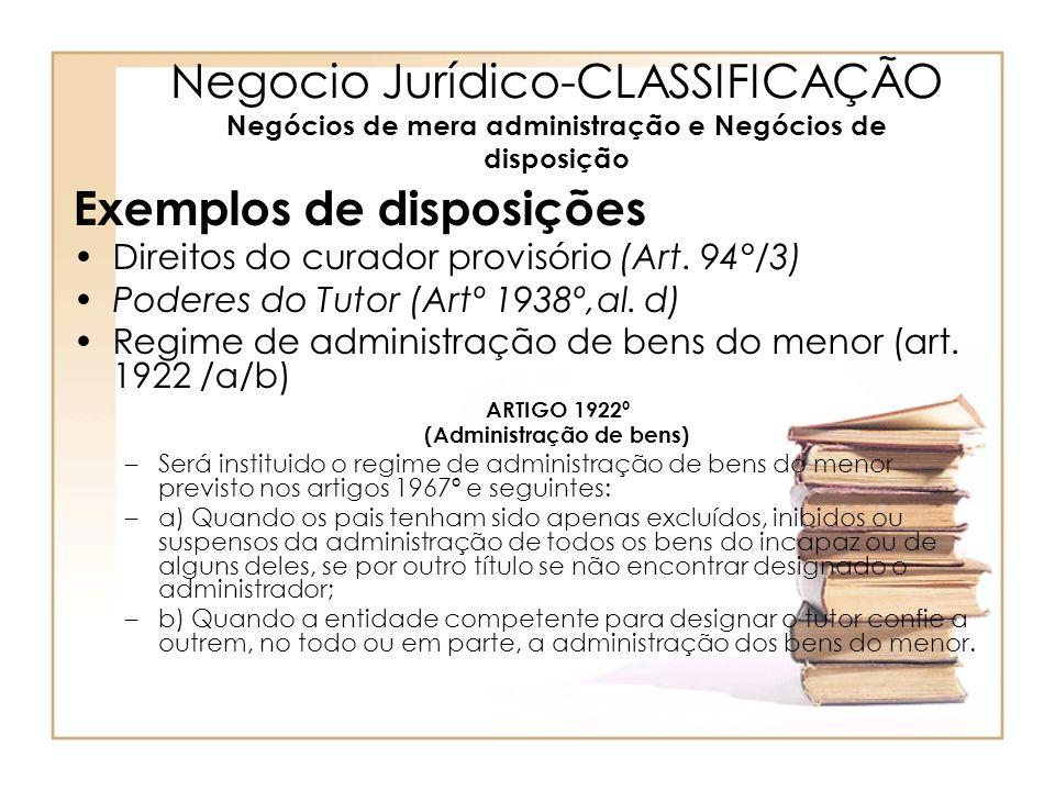 Negocio Jurídico-CLASSIFICAÇÃO Negócios de mera administração e Negócios de disposição Exemplos de disposições Direitos do curador provisório (Art. 94