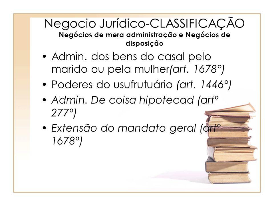 Negocio Jurídico-CLASSIFICAÇÃO Negócios de mera administração e Negócios de disposição Admin. dos bens do casal pelo marido ou pela mulher(art. 1678°)