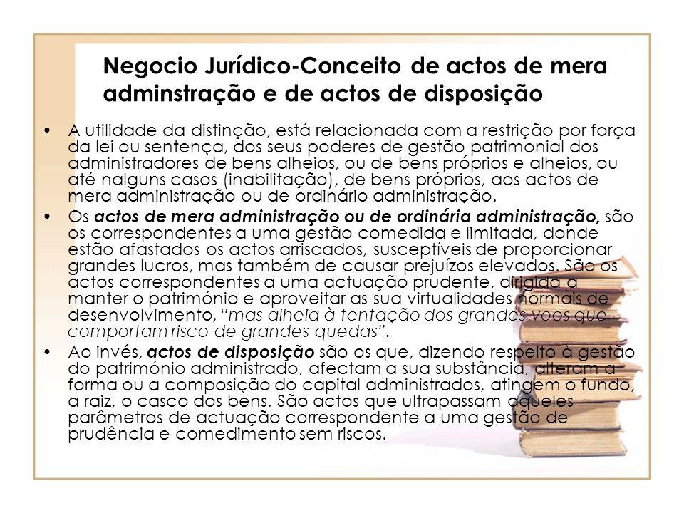 Negocio Jurídico-Conceito de actos de mera adminstração e de actos de disposição A utilidade da distinção, está relacionada com a restrição por força