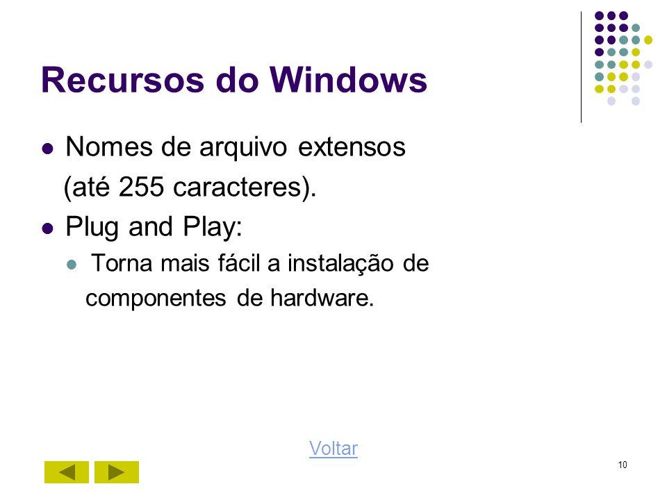 10 Recursos do Windows Nomes de arquivo extensos (até 255 caracteres). Plug and Play: Torna mais fácil a instalação de componentes de hardware. Voltar