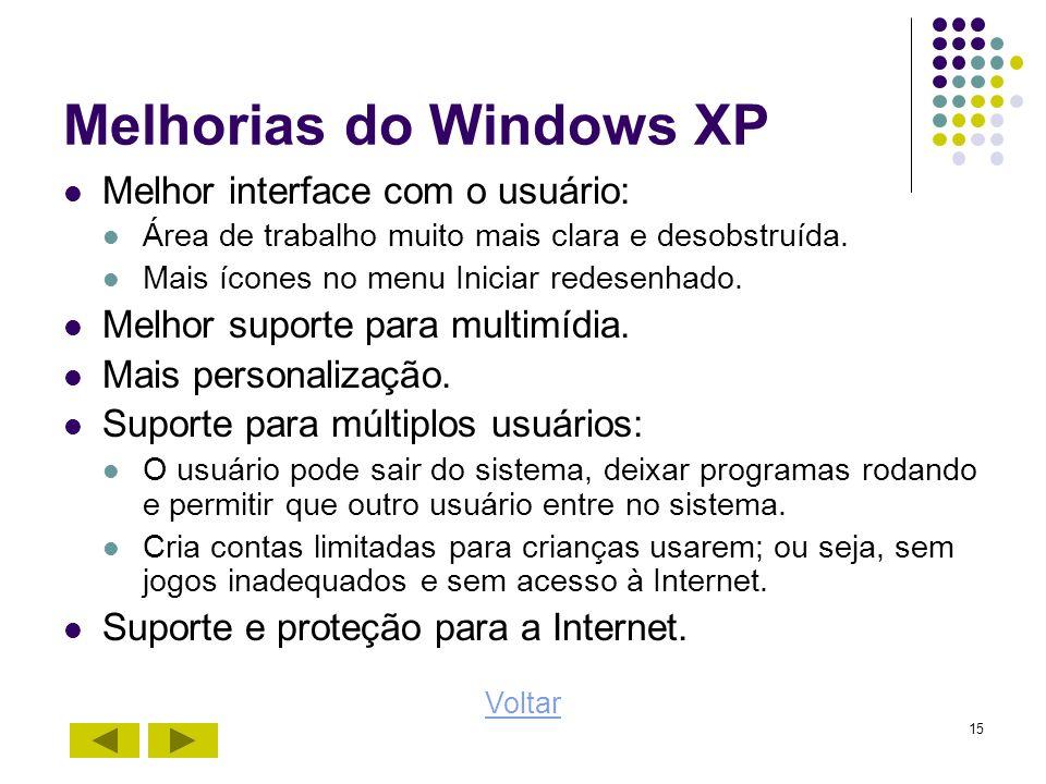 15 Melhorias do Windows XP Melhor interface com o usuário: Área de trabalho muito mais clara e desobstruída. Mais ícones no menu Iniciar redesenhado.