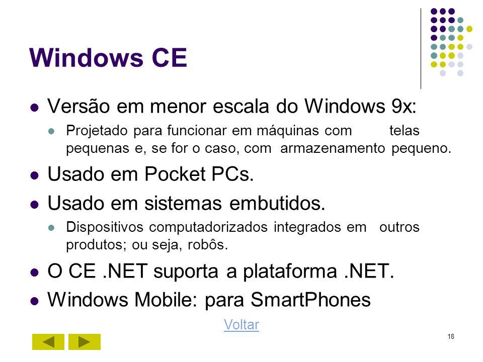 18 Windows CE Versão em menor escala do Windows 9x: Projetado para funcionar em máquinas com telas pequenas e, se for o caso, com armazenamento pequen