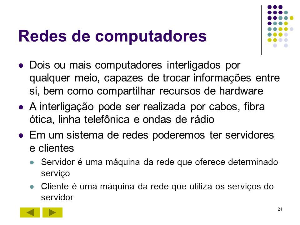 24 Redes de computadores Dois ou mais computadores interligados por qualquer meio, capazes de trocar informações entre si, bem como compartilhar recur