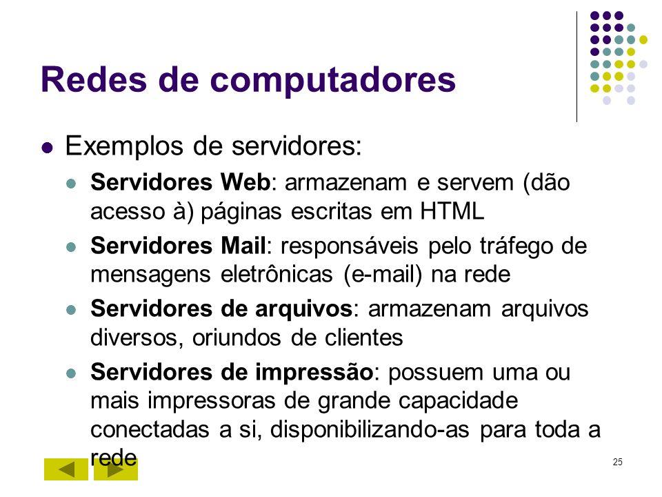 25 Redes de computadores Exemplos de servidores: Servidores Web: armazenam e servem (dão acesso à) páginas escritas em HTML Servidores Mail: responsáv