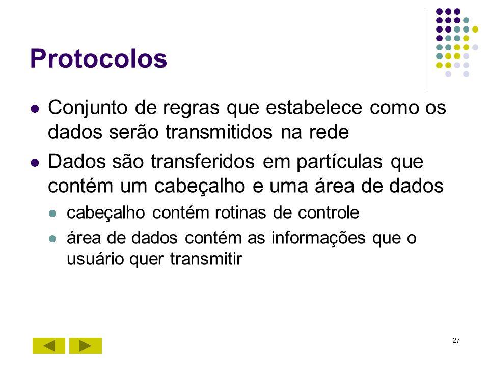 27 Protocolos Conjunto de regras que estabelece como os dados serão transmitidos na rede Dados são transferidos em partículas que contém um cabeçalho