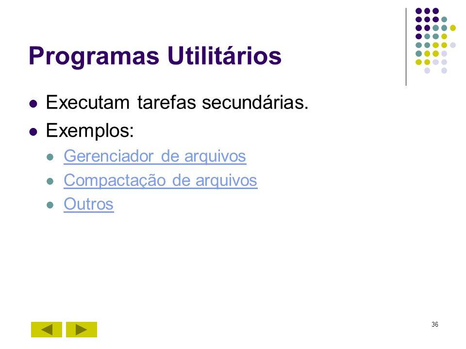36 Programas Utilitários Executam tarefas secundárias. Exemplos: Gerenciador de arquivos Compactação de arquivos Outros