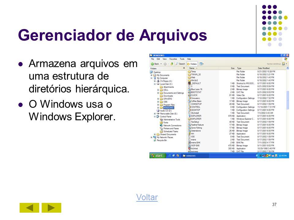 37 Gerenciador de Arquivos Armazena arquivos em uma estrutura de diretórios hierárquica. O Windows usa o Windows Explorer. Voltar