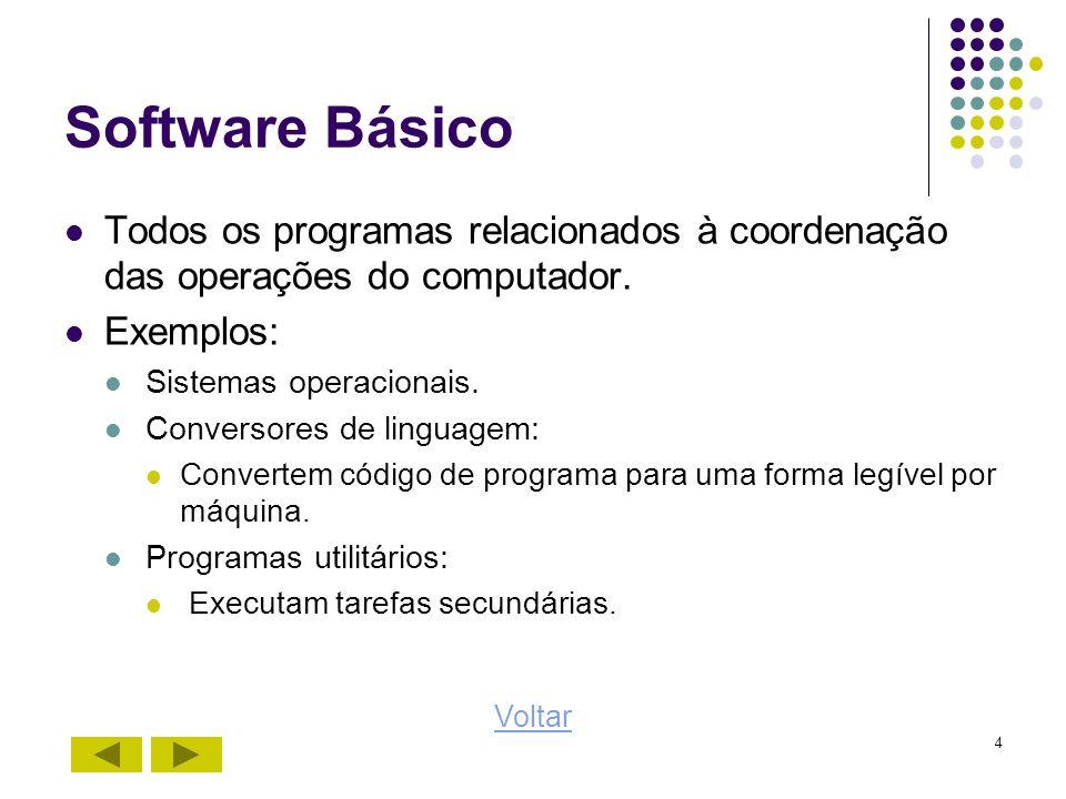 4 Software Básico Todos os programas relacionados à coordenação das operações do computador. Exemplos: Sistemas operacionais. Conversores de linguagem