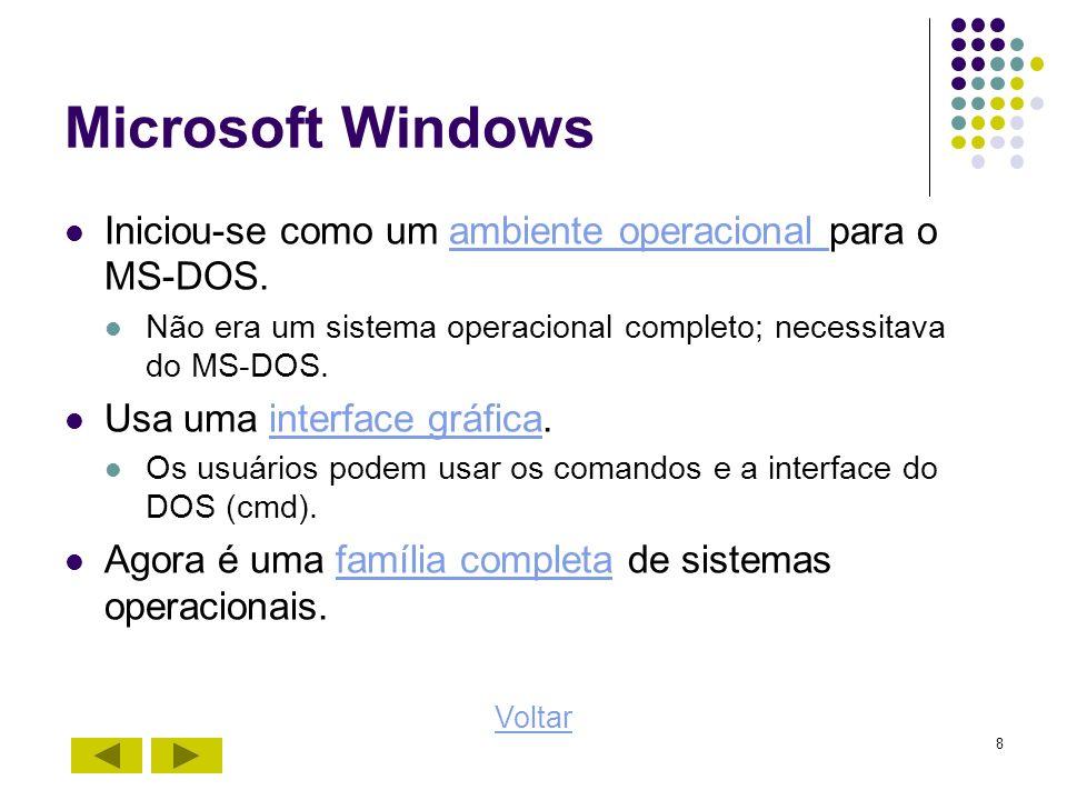 8 Microsoft Windows Iniciou-se como um ambiente operacional para o MS-DOS.ambiente operacional Não era um sistema operacional completo; necessitava do