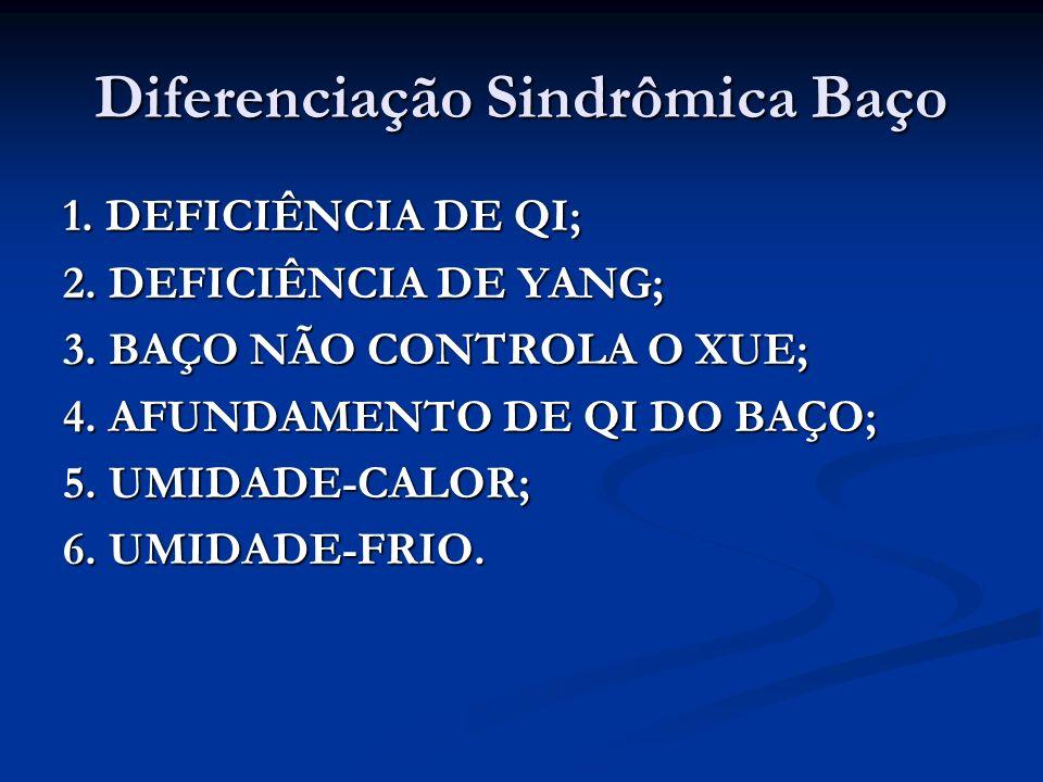 Diferenciação Sindrômica Baço 1. DEFICIÊNCIA DE QI; 2. DEFICIÊNCIA DE YANG; 3. BAÇO NÃO CONTROLA O XUE; 4. AFUNDAMENTO DE QI DO BAÇO; 5. UMIDADE-CALOR