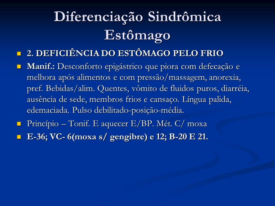 Diferenciação Sindrômica Estômago 2. DEFICIÊNCIA DO ESTÔMAGO PELO FRIO 2. DEFICIÊNCIA DO ESTÔMAGO PELO FRIO Manif.: Desconforto epigástrico que piora