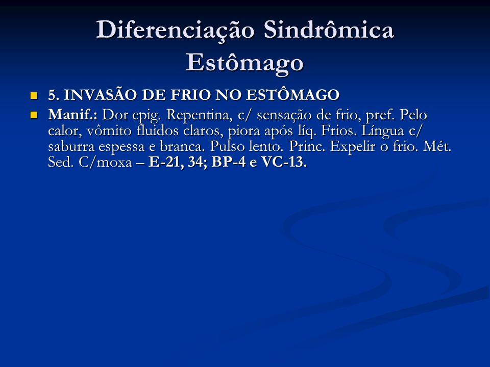Diferenciação Sindrômica Estômago 5. INVASÃO DE FRIO NO ESTÔMAGO 5. INVASÃO DE FRIO NO ESTÔMAGO Manif.: Dor epig. Repentina, c/ sensação de frio, pref