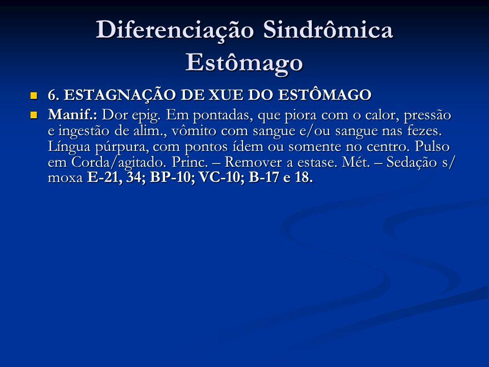 Diferenciação Sindrômica Estômago 6. ESTAGNAÇÃO DE XUE DO ESTÔMAGO 6. ESTAGNAÇÃO DE XUE DO ESTÔMAGO Manif.: Dor epig. Em pontadas, que piora com o cal