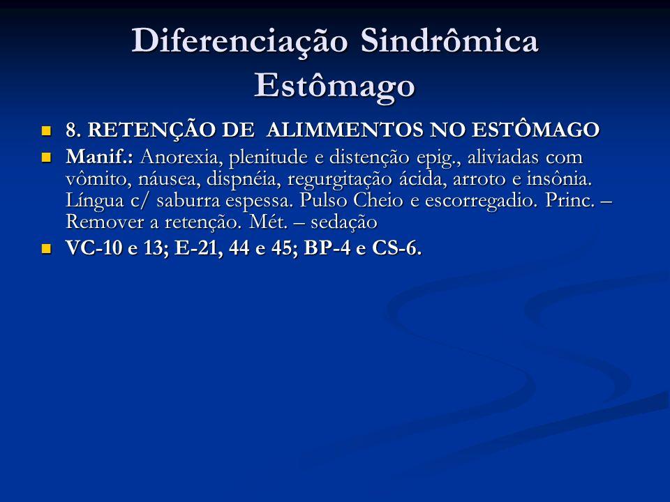 Diferenciação Sindrômica Estômago 8. RETENÇÃO DE ALIMMENTOS NO ESTÔMAGO 8. RETENÇÃO DE ALIMMENTOS NO ESTÔMAGO Manif.: Anorexia, plenitude e distenção