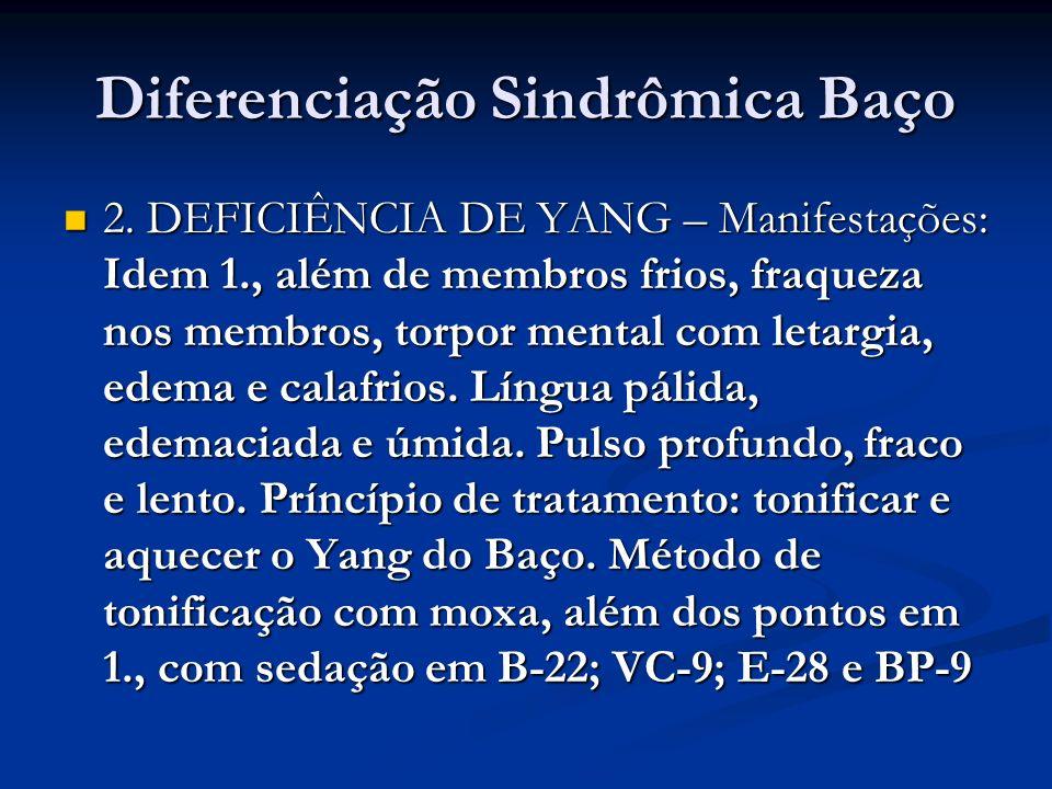 Diferenciação Sindrômica Baço 2. DEFICIÊNCIA DE YANG – Manifestações: Idem 1., além de membros frios, fraqueza nos membros, torpor mental com letargia