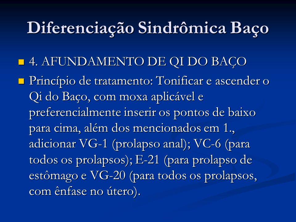 Diferenciação Sindrômica Baço 4. AFUNDAMENTO DE QI DO BAÇO 4. AFUNDAMENTO DE QI DO BAÇO Princípio de tratamento: Tonificar e ascender o Qi do Baço, co