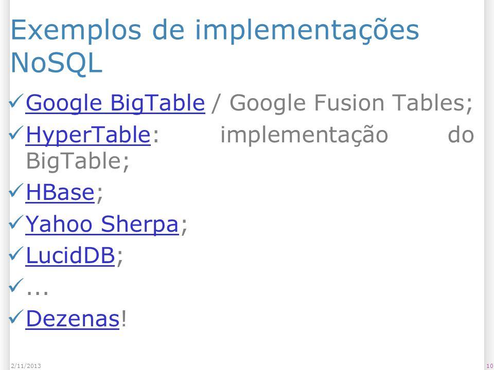 Exemplos de implementações NoSQL Google BigTable / Google Fusion Tables; Google BigTable HyperTable: implementação do BigTable; HyperTable HBase; HBas