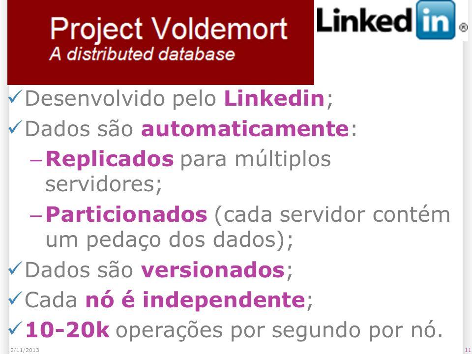 Voldemort Desenvolvido pelo Linkedin; Dados são automaticamente: – Replicados para múltiplos servidores; – Particionados (cada servidor contém um peda