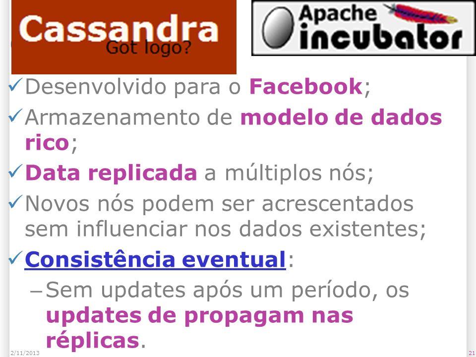 Cassandra Desenvolvido para o Facebook; Armazenamento de modelo de dados rico; Data replicada a múltiplos nós; Novos nós podem ser acrescentados sem i