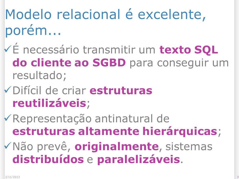 Modelo relacional é excelente, porém... É necessário transmitir um texto SQL do cliente ao SGBD para conseguir um resultado; Difícil de criar estrutur